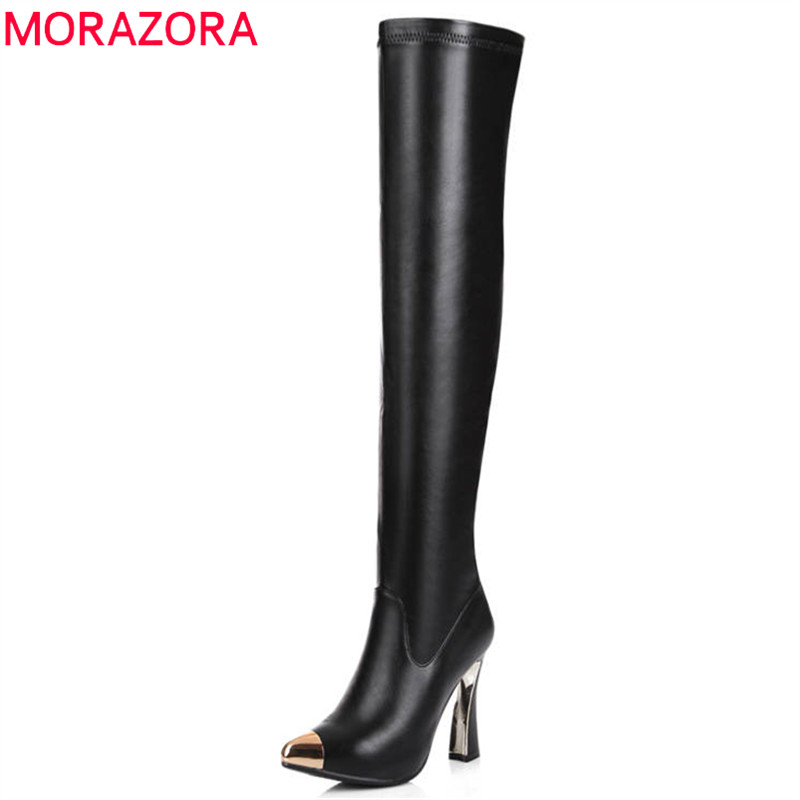 MORAZORA 2018 newest over the knee boots women genuine leather long boots sexy Stretch socks boots autumn winter shoes woman купить недорого в Москве