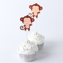 10pcs/lot Kawaii Monkey Cupcake Topper Theme Cartoon Party Supplies Kids Birthday Party Decorations(China)