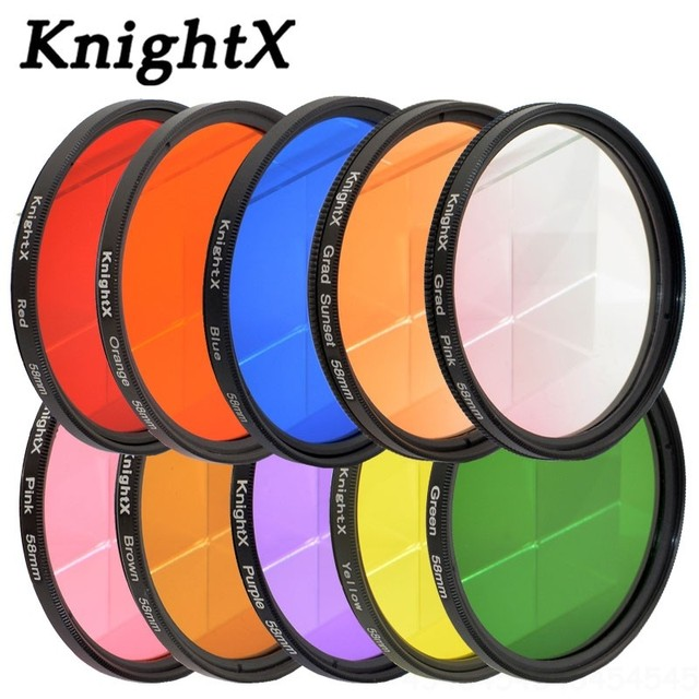 KnightX 24 color filter nd uv for nikon canon sony a6000 accessories eos lens photo dlsr d3200 a6500 49 52 55 58 62 67 72 77 mm