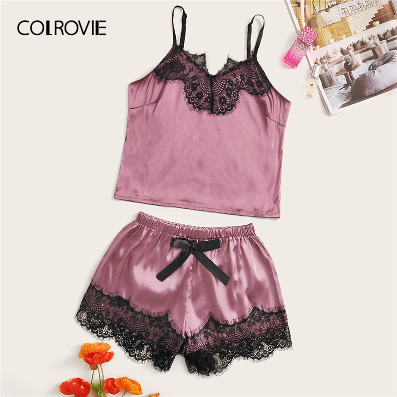 COLROVIE Floral Lace Satin Cami   Pajama     Set   Women Purple Short   Set   2019 Summer Casual Nightwear Female Sexy Sleepwear