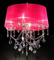 For Foyer living room bedroom dinning room use modern vintage Crystal chandelier with fabric shades