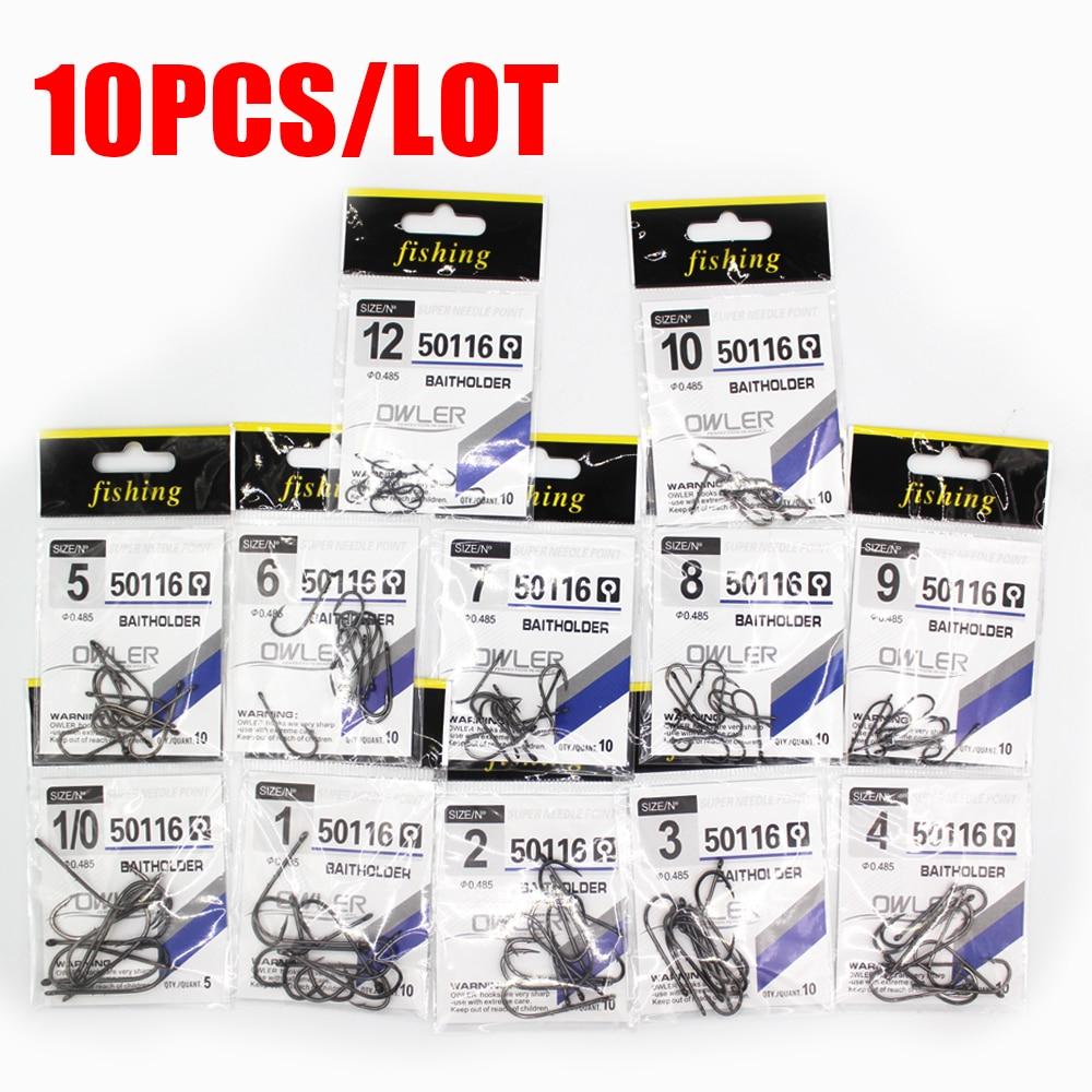 10PCS/Lot  1/0#-14# HardnessBrand Fishing Hook Brand Baitholder Fish Hooks BAITHOLDER Black Color Jig Big Owner
