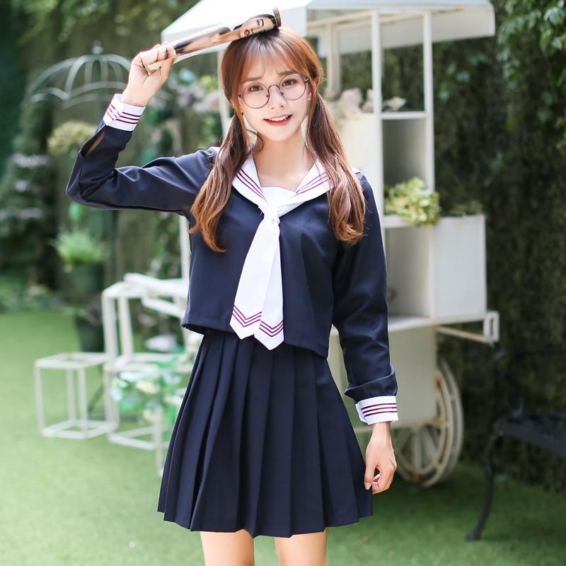 Manches longues japonais corée filles école uniforme étudiants costume Campus étudiant uniformes femme navale collège Style marin uniformes