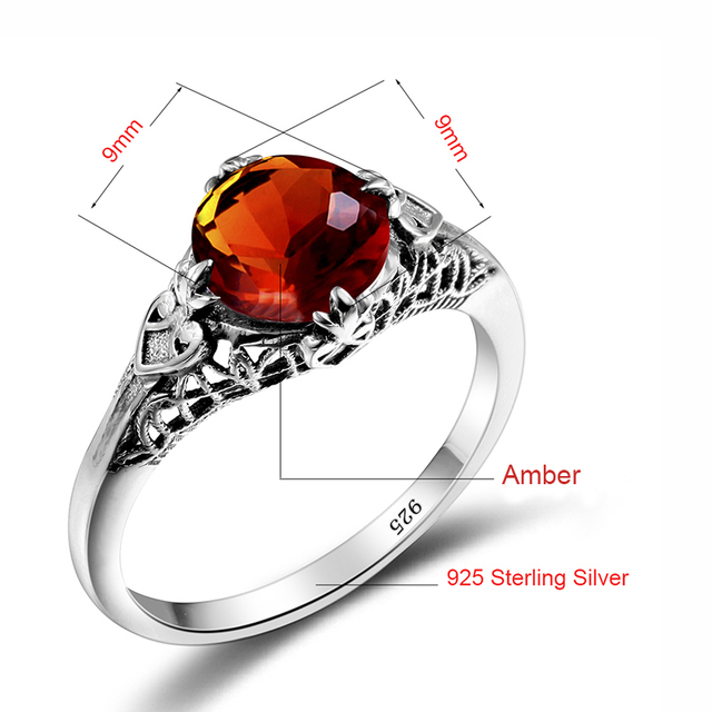 One Piece Vintage Brown Stone Amber Ring Lace Vintage Style 925 Sterling Silver Jewelry Wedding Ring Finger Spinner bijoux