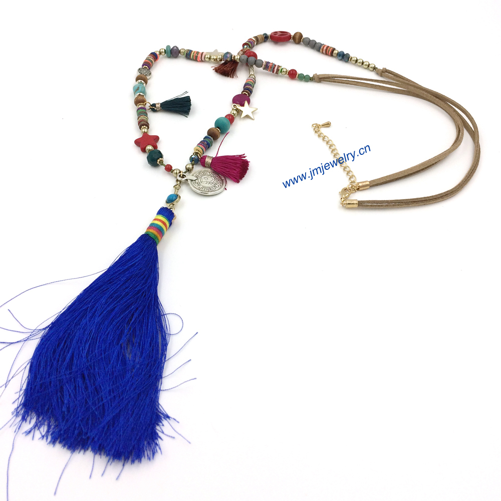 Pribadi Buatan Tangan Perhiasan Indian Manik Kristal 1 Set India Panjang Rantai Kalung Tessal Pendents Unik Boho Untuk Pria Wanita