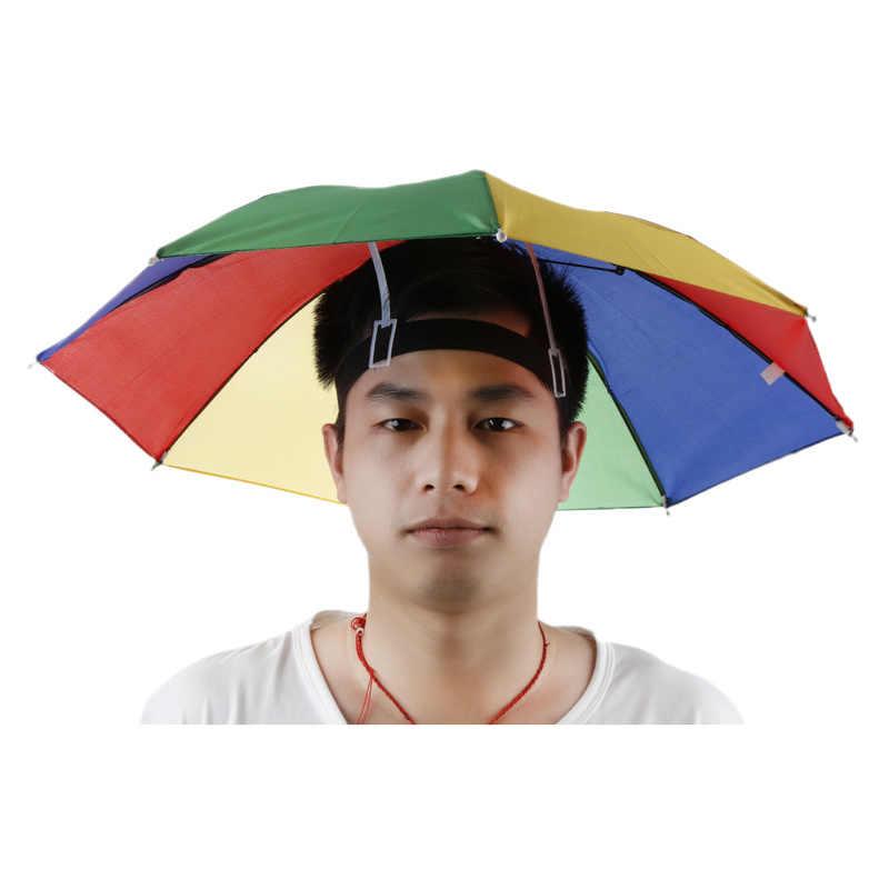 Deportes al aire libre Portable 55 cm sombrilla sombrero plegable mujeres  hombres paraguas pesca senderismo Golf ea4eaa78e0e