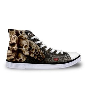 Moda personalizada de los hombres Vulcanize los zapatos masculinos clásicos zapatos de lona con cordones para hombre fresco punky negro cráneo zapatos planos