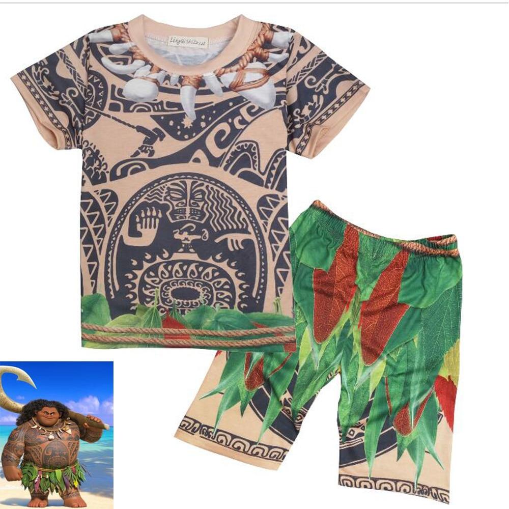 (2 pezzi) New Moana KidsTop Shirt pant costume cosplay Summer Cartoon - Costumi di carnevale