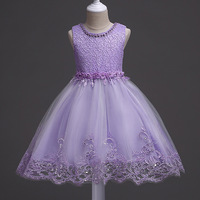 Children Dresses Beaded Princess Wedding Flyffy Dresses Vest Gauze Skirt