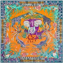 Luxe Merk Big Size Animal Print Sjaal Vrouwen Vierkante Twill Zijden Sjaal Olifant Sjaal Sjaals Bandana Groothandel 130*130 cm