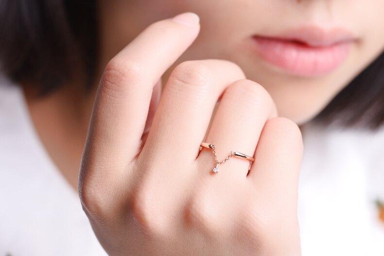 ZOCAI Regalo di Disegno Anello Naturale 0.006 CT Diamond Ring con 18 K Rose Gold (Au750) W06225 - 6