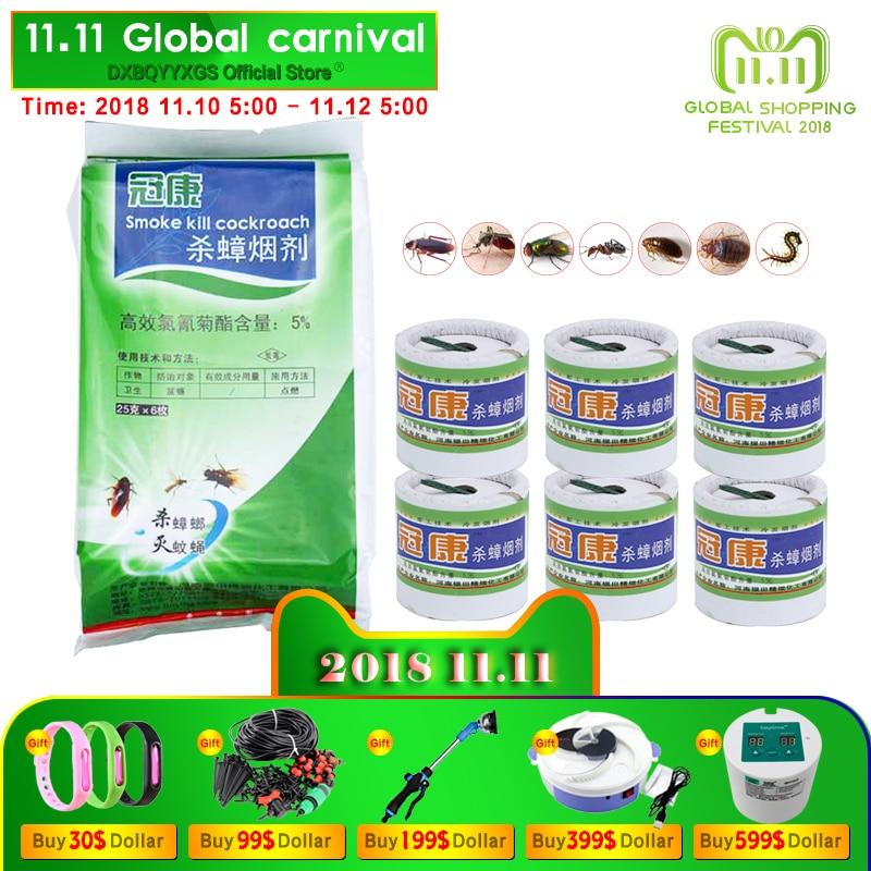Hot 6 piezas/B humo insecticidas rápido completo veneno bomba para cucarachas cebo mágico smog fly bugs Mosquito ant Killer