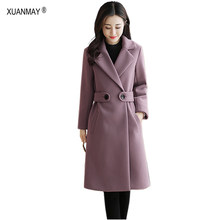 Autumn 2019 new Women's Long style Cardigan Woolen Windbreaker Coat office clothing Thick Warm winter Windbreaker coat Female(China)