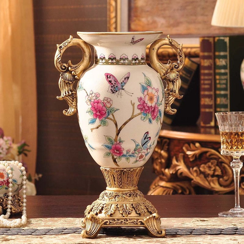 creative vase European Garden ice crackle ceramic creative vase living room decoration porcelain crafts