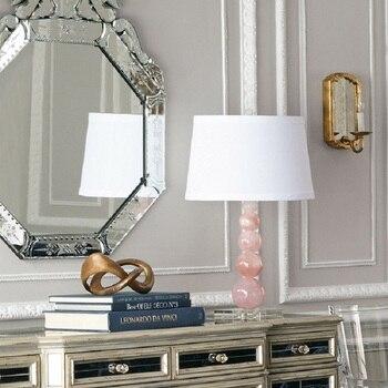 Lampe De Bureau Rose | LukLoy LED Lampe De Table En Cristal Lampe De Bureau Décorative Pour Chambre Salon Rose Marbre LED Table Lumière Art Table De Chevet Lampes