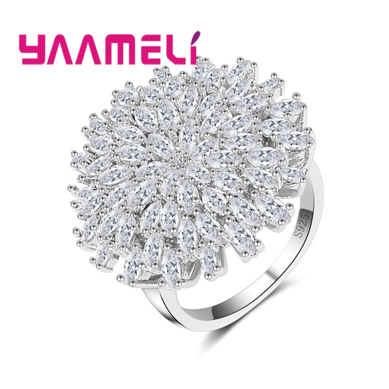 Luxurious Big Flower Clear Cubic Zirconia 925 Sterling Silver Ring For Women Party Wedding Jewelry High Quality