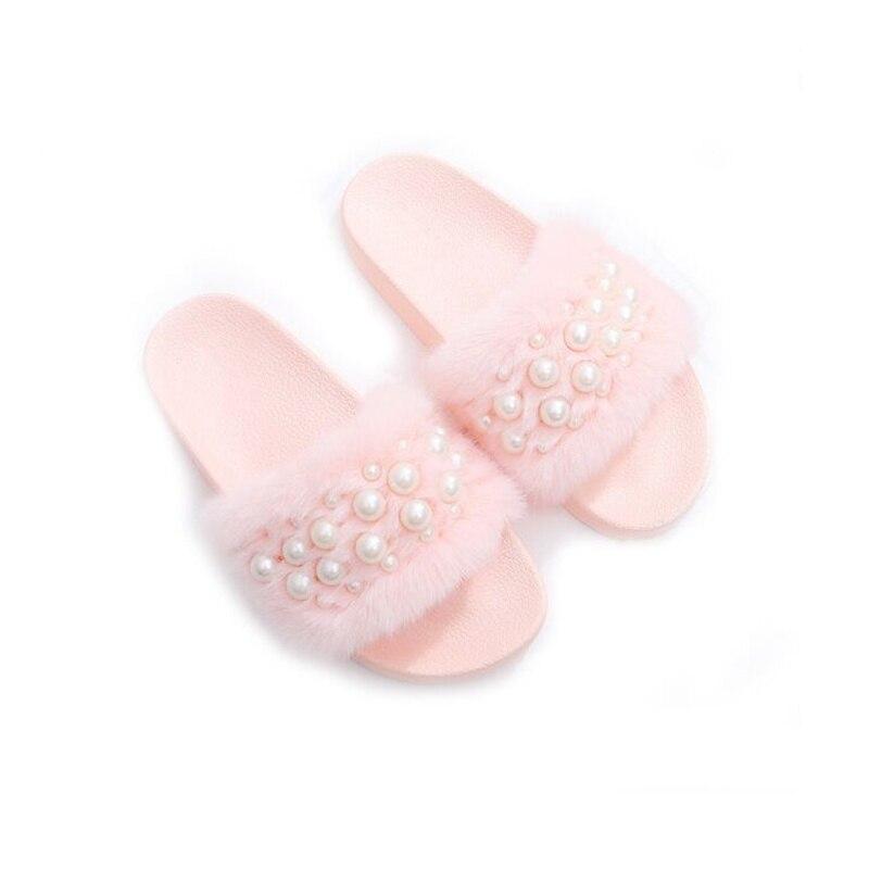 2018 Новый Для женщин меховой слайд сладкий жемчужина толстая подошва женские шлепанцы Для женщин домашние тапочки домашние мягкая подошва