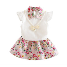 Princess Toddler Baby Girls Clothing Sets Printed Skirt+Cute Sleeveless T-shirt 2 Pcs Set Summer Kids Fashion Clothes Suit стоимость