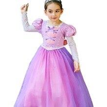 Little Girls Princess Rapunzel Costume Long Mesh Sleeves Tutu Dress Cosplay Halloween Birthday Party Fancy 2018 New