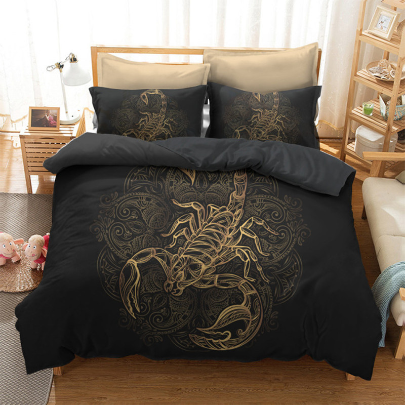 Home & Garden Home Textile Selfless Fanaijia Gold Scorpion Bedding Sets King Meteor Scorpio Duvet Cover Constellation Bed Set Bohemian Black Bedclothes Rapid Heat Dissipation
