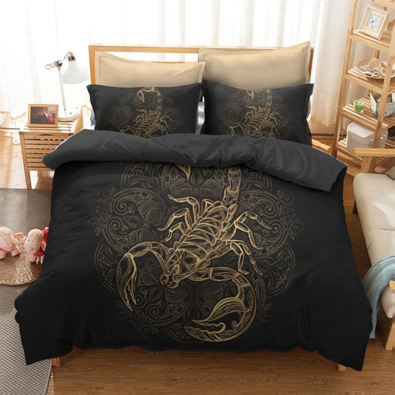 Home Textile Selfless Fanaijia Gold Scorpion Bedding Sets King Meteor Scorpio Duvet Cover Constellation Bed Set Bohemian Black Bedclothes Rapid Heat Dissipation