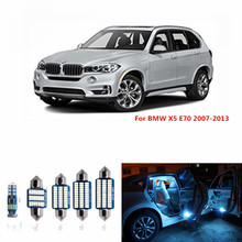 Car led  Dome Vanity Puddle Footwell Truck Light Canbus No Error Led Interior light Kit for BMW X5 E70 2007-2013 white ice blue