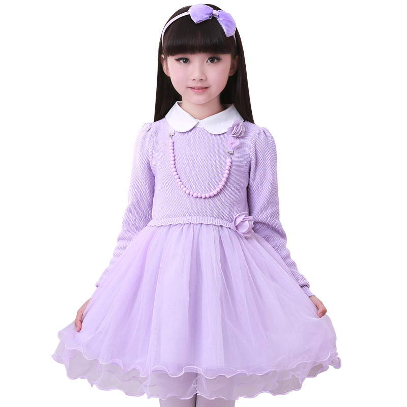 Girls Long-sleeved Princess Dress 2017 Spring Autumn New Children Beading Clothing Kids Long sleeve Ball Gown Dresses girls dress winter 2016 new children clothing girls long sleeved dress 2 piece knitted dress kids tutu dress for girls costumes