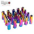 Dyno racing  20 Pieces Set L : 60mm 7075 Aluminum Lug Nuts 1.5 / 1.25 neo chrome auto lug nut