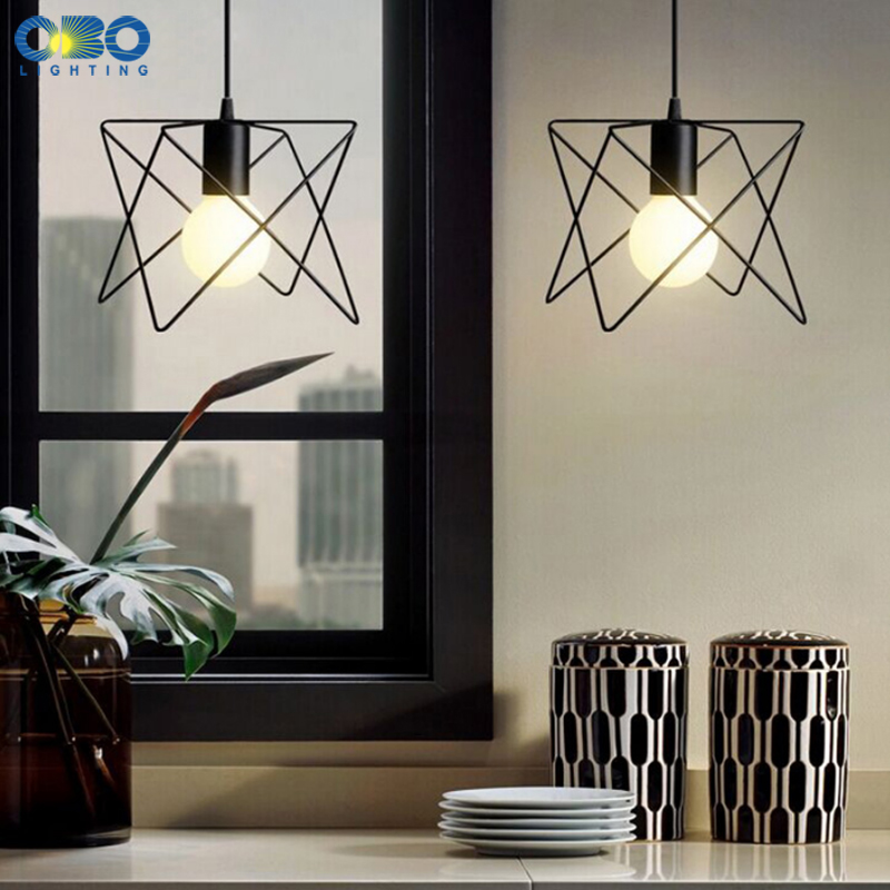 Black Iron Frame Vintage Pendant Lights Bar Clothing store Coffee House Indoor Lighting Cord Wire Lenght 1 2m E27 110 240V in Pendant Lights from Lights Lighting