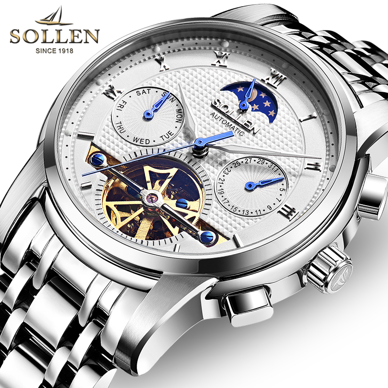 SOLLEN Mens Sport Watches Sapphire Luminous Mechanical Watches Tourbillon Automatic Watches Stainless Steel Band Luxury ClockSOLLEN Mens Sport Watches Sapphire Luminous Mechanical Watches Tourbillon Automatic Watches Stainless Steel Band Luxury Clock