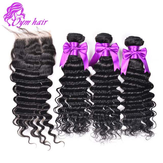Virgin Unprocessed Malaysian Hair Deep Wave 3 Bundles With Closure 1 Pc Beauty Deep Wave Human Hair Weave With Lace Closure