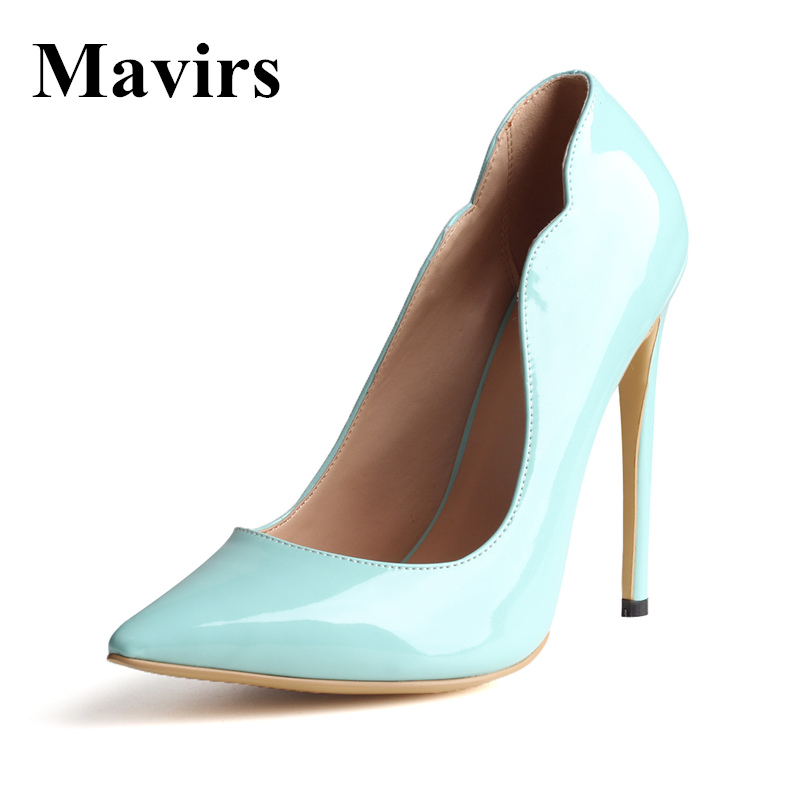 MAVIRS 2018 Cymn Black Pointed Toe Extreme High Heels Stiletto Blue Black Women Pumps Wedding Shoes Studded Heels US Size 5-15