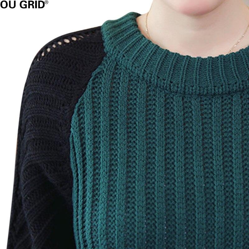 Femmes longue robe tricotée automne hiver veste patchwork lâche rayé garniture côtelée fente asymétrique Maxi pull décontracté robe - 5