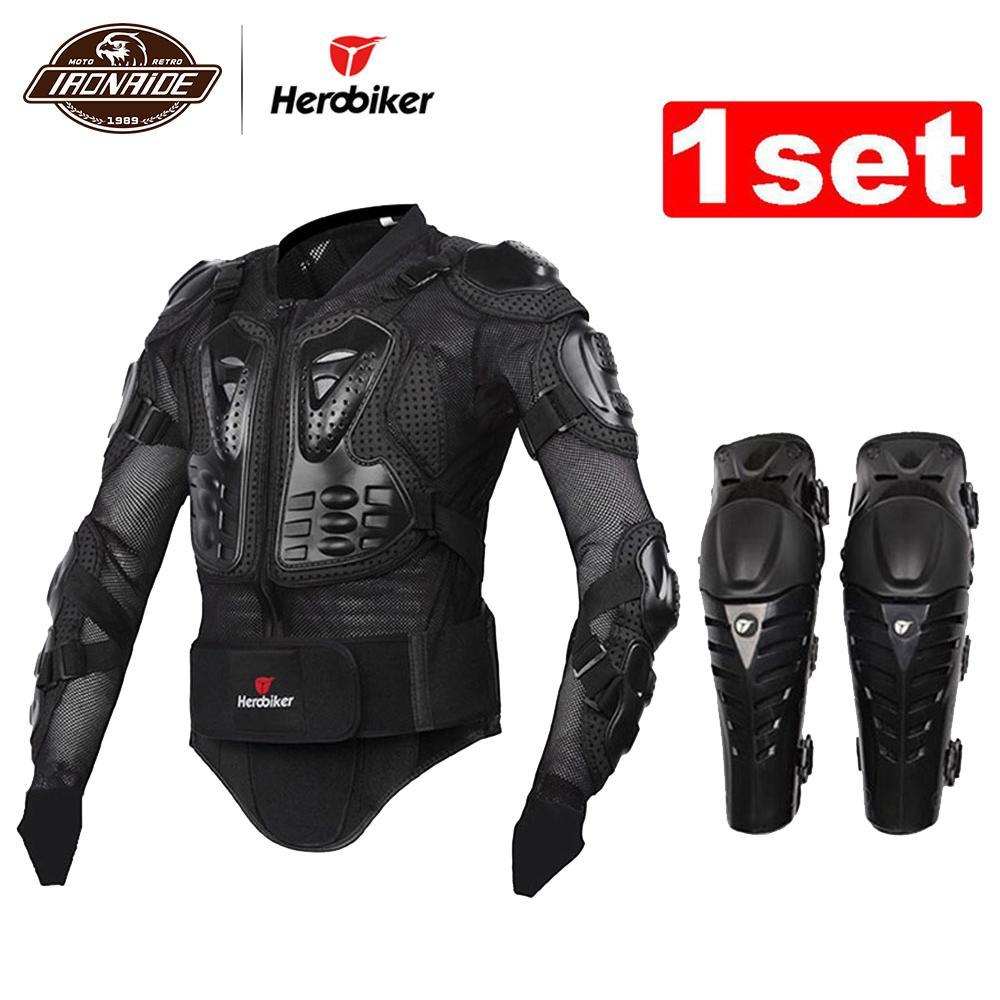 HEROBIKER Motorcycle Jacket Motorcycle Body Armor Proteção Kits Ternos Jaqueta + Protetor Motocicleta Joelho Pad Motocross Armadura