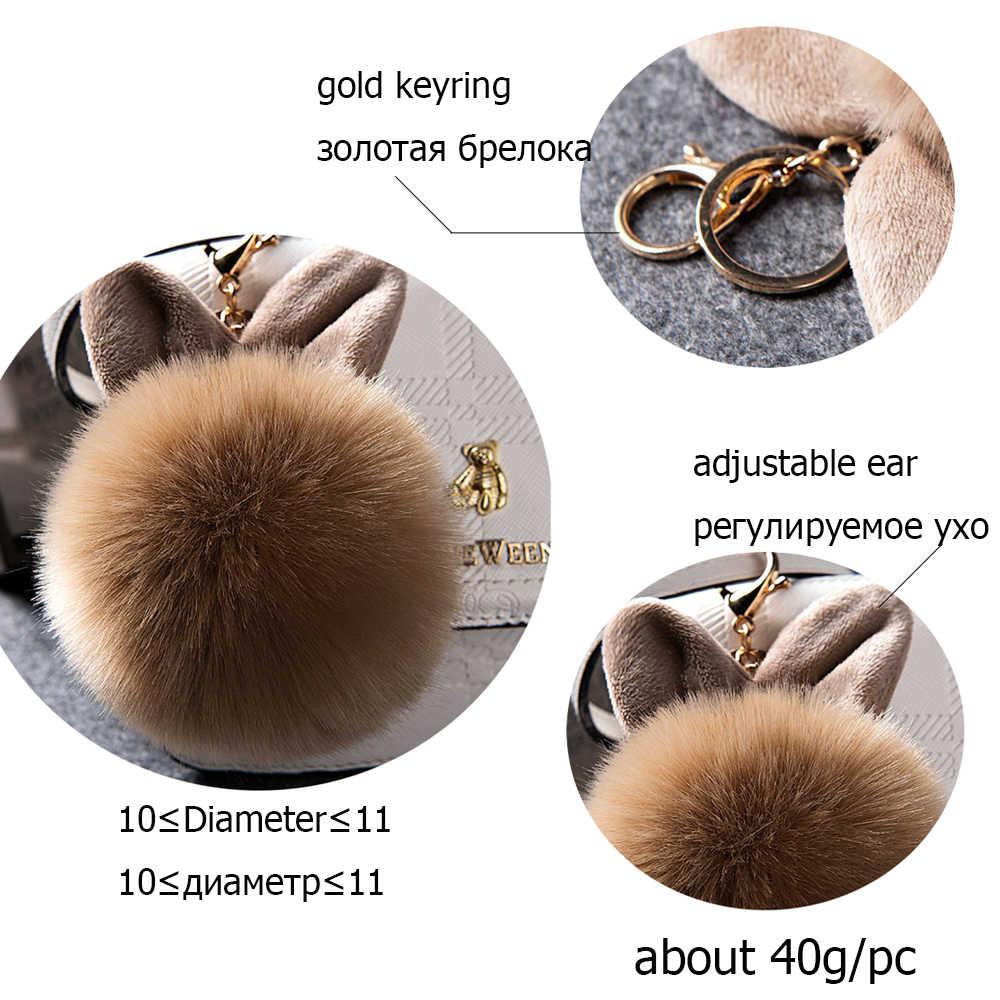 2019 ขนสัตว์ Pom Pom พวงกุญแจปลอมกระต่าย fur ball พวงกุญแจ porte clef pompom de fourrure fluffy Charms กระเป๋ากระต่ายพวงกุญแจ Keyring