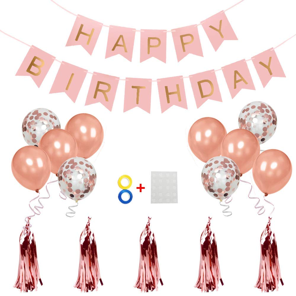 Pink Happy Birthday Banner Balloons 4Pcs Confetti 6Pcs Rose Gold Latex 12inch 5Pcs DIY Paper Tassel Garland