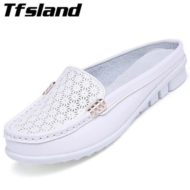a86e3867032 Été femmes en cuir souple demi pantoufles Floral creux tongs sandales  sabots confortable femme marche chaussures