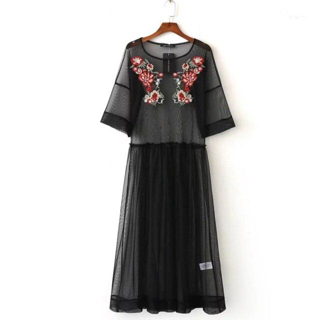 2017 mujeres del resorte floral bordado beach dress media manga o cuello sexy perspectiva negro de malla vestidos de marca vestidos bbwm16177