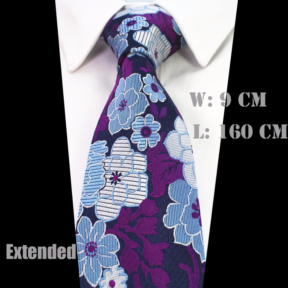 "Ricnais New 63"" Extra Long Size Tie For Men 160cm*9cm Necktie Floral Paisley Big Size Man Silk Neck Tie Suit Wedding Party"