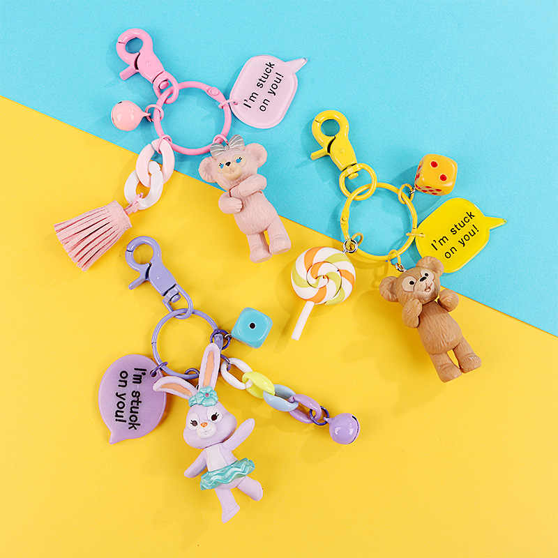 Handmade Korean Fashion Cartoon Bear Brown Bunny Cony Creative Wristband Keychain Keyring Bag Pendant Birthday Gift for women