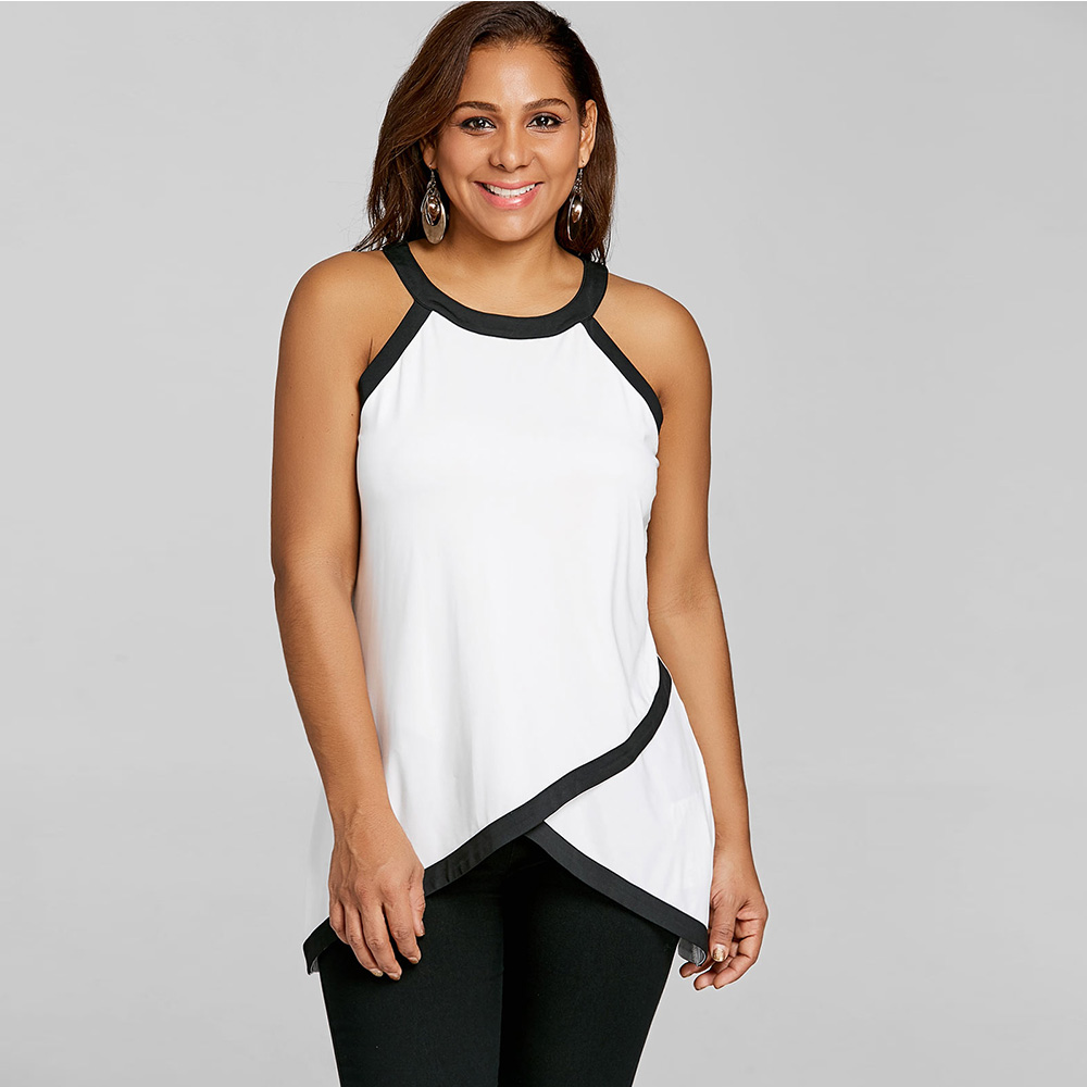 50c31255c403e VESTLINDA Overlap Tank Tops Women Summer Tees Plus Size Contrast Trim  Sleeveless Halter Top Female Clothes Workout White Tanktop-in Tank Tops  from Women s ...
