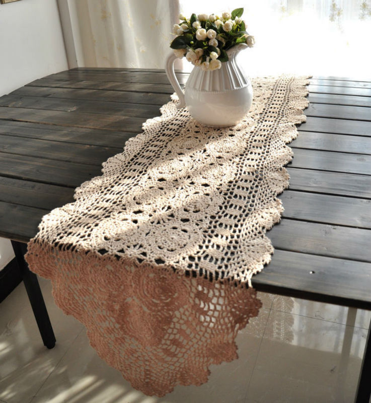 40x180cm 15x71 inches vintage hand crocheted shabby chic for Table de noel shabby chic