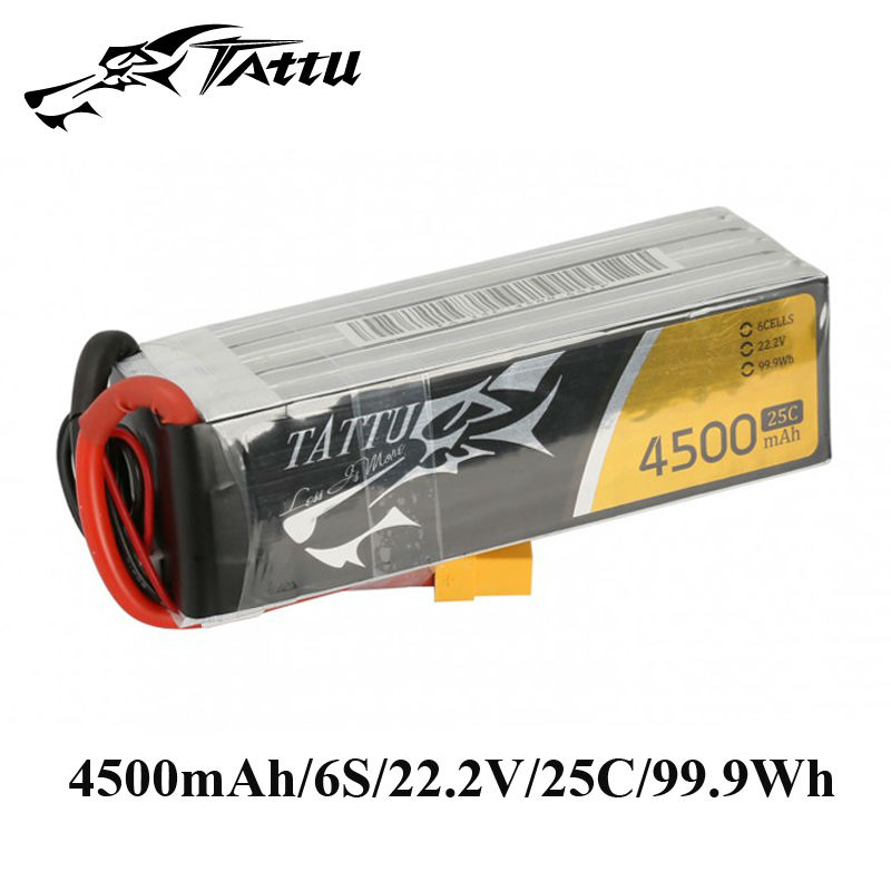 TATTU Lipo Battery 22.2v 4500mAh Lipo 6s Battery 25C RC Battery XT90 XT60 Plug for 600 Size Helicopter Quadrocopter RC Airplane inter step is cc 2usb000as 000b201