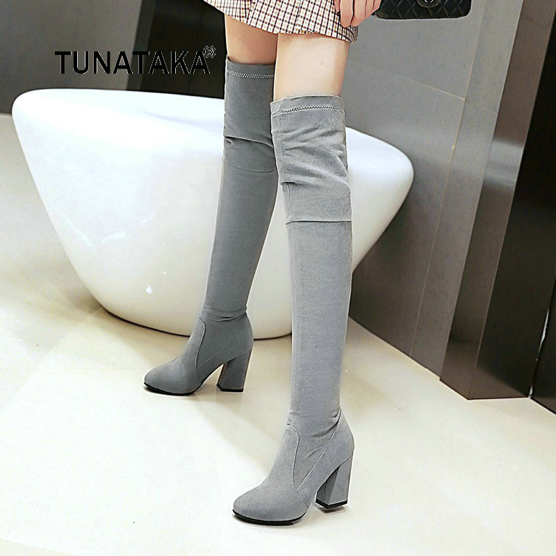 For Lady Flock Slip On Thigh Boots Fashion Round Toe Thick High Heel Over The Knee Elastic Boots Black Gray