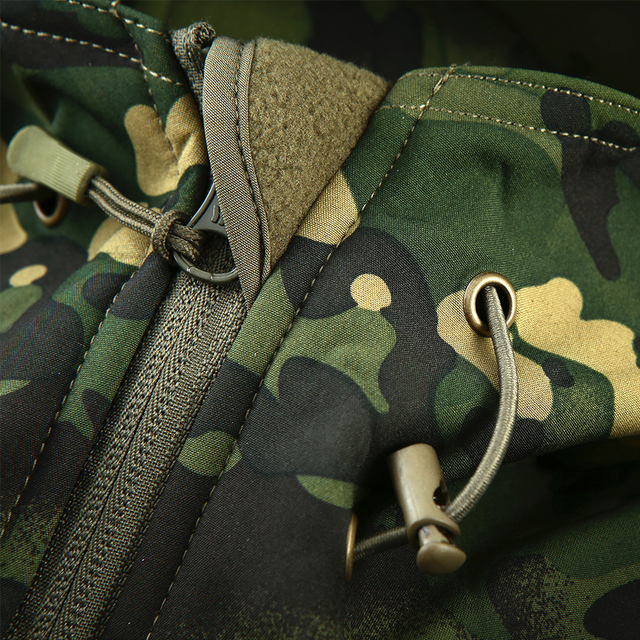 Mege Brand Clothing Autumn Men's Military Camouflage Fleece Jacket 4