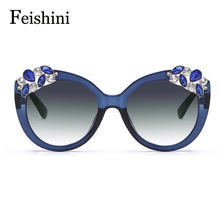 FEISHINI Superstar Artificial Crystal Embellishment Brand Designer 2017 Sunglasses Women Cat eye Gradient Vintage UV Protection