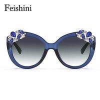 FEISHINI Superstar Artificial Crystal Embellishment Brand Designer 2017 Rimless Sunglasses Women Gradient Vintage UV Protection
