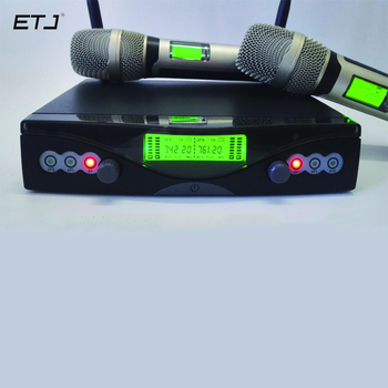 Frete grátis SKM-9000A Microfone Sem Fio com Tela de 50 M Distância 2 Canais Handheld Microfone Karaoke Sistema de Microfone Sem Fio