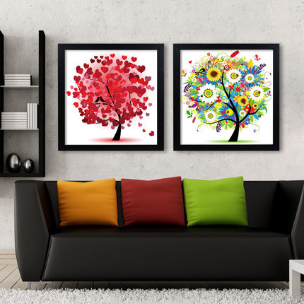 Black Frame Happiness tree fortune tree living room decoration painting simple sofa background wall painting bedroom porch mural