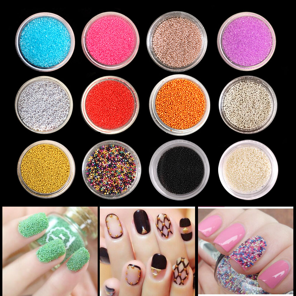 DIY 3D Gold Silver Transparent Mini Caviar Beads Gel Polish Nail Art Tips Charm Metallic Pearl Ball Pro Manicure Pedicure rose gold silver black nail beads caviar studs multi size diy 3d nail art uv gel lacquer decoration in wheel manicure accessorie